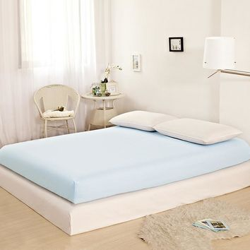 Home Textile Soft Cotton Fitted Sheet Sky Blue Mattress Cover Bed Sheet Fitted Sheet Bedspread 25 Deep Twin Full Queen King Size