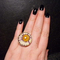 Real Preserved Daisy Specimen Ring
