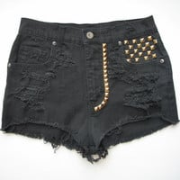 High Waist / Destroyed & Studded / Black denim by RomaniRose