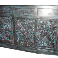 Antique Sideboard Chest Bastar Tribal india dresser console hand Carved furniture Blue Patina