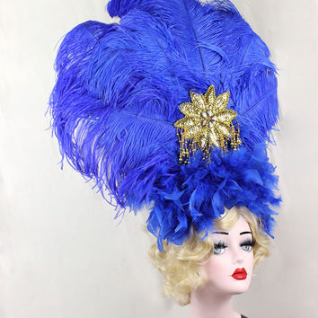 Royal Blue Showgirl Feather Headdress, Burlesque Costume, Huge, Gold, Ostrich Feathers