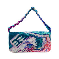 Chanel Multicolor Quilted Canvas Watercolor Pochette Flap Bag