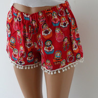 Pom Pom Shorts.Red Matryoshka Dolls print
