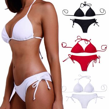 FITTOO Sexy Push up Bikini Set for Women Classic Top String Hipster Bottom No Underwire Padded #2 White X-Large