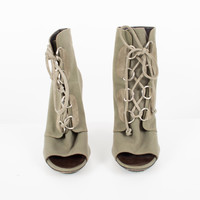 Army Green Lace Up Canvas Open-Toe Boots