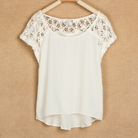 Trendy Lace Stitching Short Sleevees Chiffon Shirt