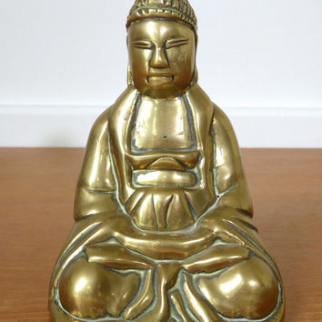 Brass buddha statue, figurine for table or bookshelf