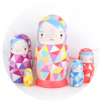 Geometric Nesting Doll Matroyshka 'Little Neons'