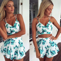 White Cactus Print Strappy Cropped Top And High Waisted Short