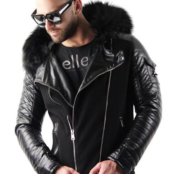 Faux Leather Jacket With Hood in Fur