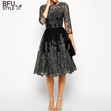 Office Ladies Dress Party Vintage Dresses Slash Nech Black Lace Scalloped Dress Fall Vestido De Renda Festa