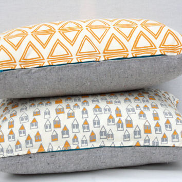 "Little Boxes - houses mustard and grey, organic screen printed pillow 12"" x 20"""