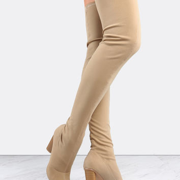 Stacked Heel Pointed Toe Thigh Boots NUDE | MakeMeChic.COM