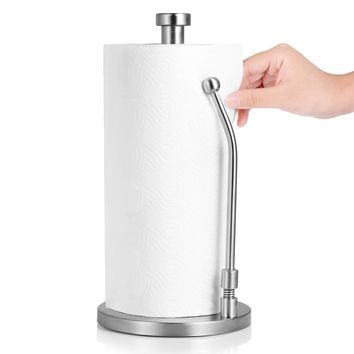 Adoric Life Standing Paper Towel Holder, Simply Tear, Sturdy Stainless Steel Tissue Holder