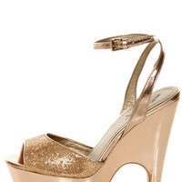 GoMax Tiny Dancer 01X Rose Gold Metallic Platform Heels
