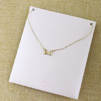 Special offer Japan and South Korea jewelry gold metal bow necklace female personality simple clavicle chain fashion temperament accessories JP