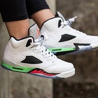 Air Jordan V Space Jam Retro Men Sport Shoes Basketball Sneakers White&Green