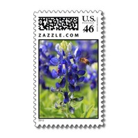 Texas Bluebonnet and Bumblebee Postage Stamps from Zazzle.com