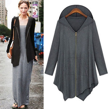 Autumn  Women's 2014 Fashion Plus  Windbreaker Full-Zip Loose  Jacket  Hoodie Sweater NEW TOPS  3XL-4XL 3X-4X = 1704216196