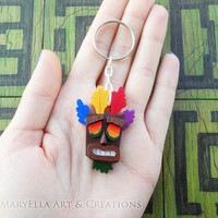 MADE TO ORDER - Crash Bandicoot - Aku Aku mask wood keychain