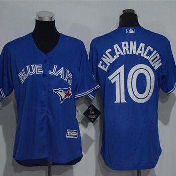 Women's Toronto Blue Jays #10 Edwin Encarnacion Cool Base Player Jersey