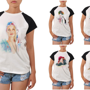 Women's Potrait painting Graphic Printed Short Sleeves T- Shirt WTS_04