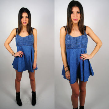 Vintage 1990s grunge mini denim baby doll dress S M