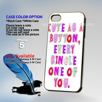 Cute as a Button Every, Photo Hard Plastic iPhone 5 Case Cover