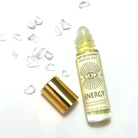 ESSENTIAL OIL ROLL ON AROMATHERAPY INFUSED W/ CRYSTALS- ENERGY