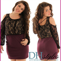 Diem-231x-Black-Purple Formal Lace and Knit Cold Shoulder Plus Size Dress