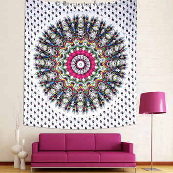 Indian Colourful Peacock Feather Mandala Wall Hanging Tapestry Hippie Bedspread Dorm Decor