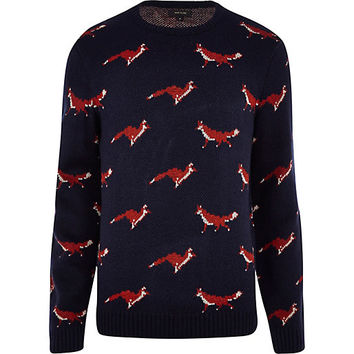 River Island MensNavy fox sweater