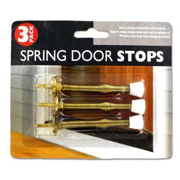Spring Door Stop Set with a Brass Finish 3 Pieces Set of 24 Pack