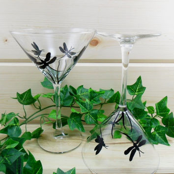Martini Glasses Black Dragonfly Hand Painted Set of 2