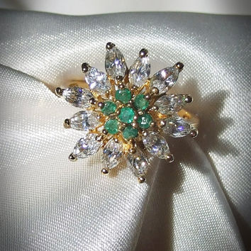 Vintage Genuine Round Cut Emeralds and Marquise CZ Diamonds in Flower Setting, Estate Ring, 18k Yellow Gold Vermeil