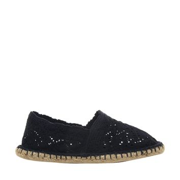 London Rebel Crochet Espadrille - Navy