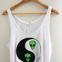 Alien Yin Yang Graphic White Flowy Crop Tank