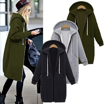 Hoodie Jacket Cute Women Long Cardigan Ladies Sweater
