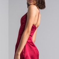 AKIRA Sweetheart Skater Satin Feel Mini Dress in Burgundy, Opera Pink