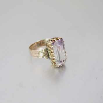 Antique Amethyst Ring. Victorian 10K Rose Gold Dark To Light Amethyst Ring. Alternative Engagement Ring. February Birthstone.