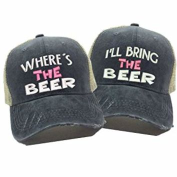 """Where's The Beer"" &""I'll Bring The Beer"" Set Of 2 Drinkin' Alcohol Custom Distressed Trucker Hat Ball Cap"
