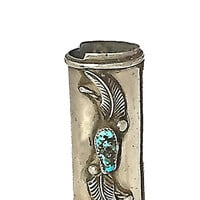 Signed Sterling Silver Lighter Case Vintage Navajo Handcraft Turquoise Coral, Southwestern Native American Tobacciana Lighter Cover