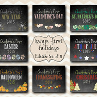 Baby's First Year Holidays / 8x10 Editable Chalkboard Digital Print / First Year Printable PDF Instant Download / Set of 8