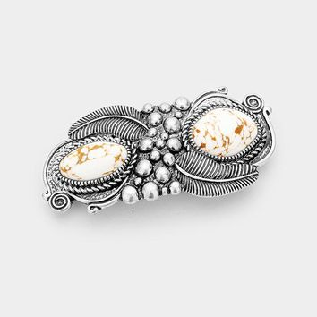 Double Howlite Accent Burnished Silver Hair Barrette