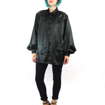 80s Black Silky Satin Blouse Beaded Sequin Blouse Faux Leather Patchwork Party Blouse Button Down Shirt Goth New Wave Evening Top (L)