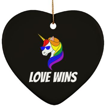 Gay Christmas Ornament Love Wins Ceramic Heart Shape 3.25 Inches (Black)