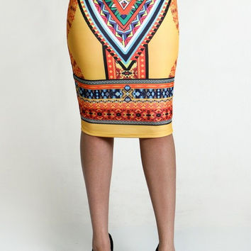 Diamond Print Aztec Skirt