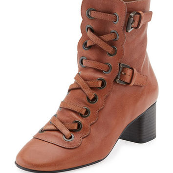 Chloe Orson Lace-Up 30mm Bootie, Ochre Delight