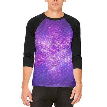 Sacred Geometry Metatron Cube Map of Creation Mens Raglan T Shirt