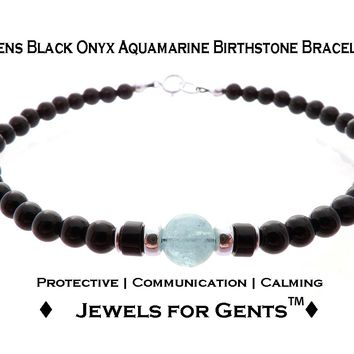 Mens Aquamarine & Onyx Birthstone Bracelet, March Gemstone Beaded Bracelet, Jewels for Gents